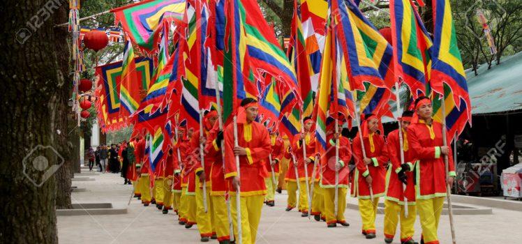 HAI DUONG, VIETNAM, February, 15 : Group of Asian people attend folk festivals on February, 15, 2014 in Hai Duong, Vietnam.